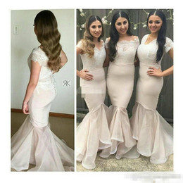 Wholesale Trumpet Wedding Dress Silk Organza - Nude Cap Sleeve Mermaid Long Bridesmaid Dresses 2017 Plus Size Covered Button Lace Organza Trumpet Junior Wedding Party Guest Gowns
