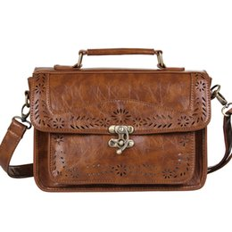 Wholesale Lawyers Briefcase - Wholesale-Women's Brown Vintage Leather Briefcase Luxury Women Document Briefcase Durable Executive Briefcase Small Lawyer Postman Bag