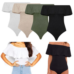 bec9d0528bfb 2016 Summer Off hombro mamelucos sin respaldo Sexy Ruffles mujeres Body  Crop Tops Blusa Womens mono Bodycon camisas overoles W2