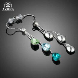 AZORA Elegant Charm Earrings for Women With 3pcs Water Drop Stellux Austrian  Crystal Dangle Wedding Earrings TE0194 416a6cf92726