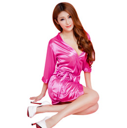 Wholesale Womens Silk Bathrobe - Wholesale- Womens Sexy Satin Silk Like Soft Kimono Underwear Short Nightdress Sleepwear Robe Lingerie Nightgown Pajamas Bathrobe