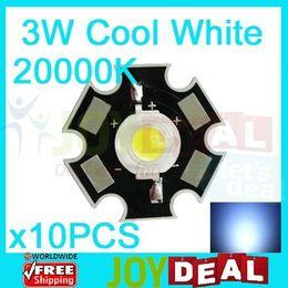 Wholesale 3w Led Emitter Star - Wholesale- 10PCS 3W Cool White High Power LED Bead Emitter DC3.6-3.8V 700mA 160-180LM 20000K with 20mm Star Platine Heatsink