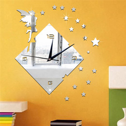 Wholesale Wall Clock Square - 3D mirror wall stickers Square clock Creative Home Decor DIY fairy star flower Carved bedroom Removable Decoration Stickers 2017 wholesale