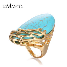 Wholesale Turquoise Wedding Rings Women - eManco Natural Stone Ethnic Vintage Geometric Statement Large Rings for Women Turquoise Gold Plated Brand Jewelry in 2016