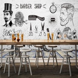 Wholesale Free Paint Shop - Free Shipping 3D Stereo Custom HD Vintage Barber Shop Background Wall Decorative Painting Image Wallpaper High Quality Mural