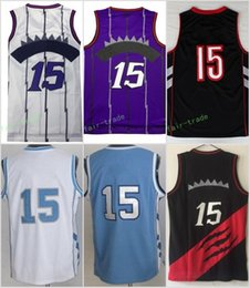 Wholesale Short Purple Heels - 2017 15 Vince Carter Basketball Jerseys North Carolina Tar Heels College Vince Carter Throwback Jersey Blue Black White Purple With Name