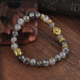 Wholesale Buddha Bracelet For Men - Wholesale- Gold Buddha Leo Lion Head Charm Bracelet Black Lava Stone Beads Bracelets For Women Men Jewelry Pulseras Hombre