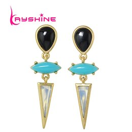 Wholesale India Charms - Vintage Accessories Antique Gold Blue Black Acrylic Long Earring Geometric Triangle Brand Earrings for Women From India