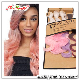 Wholesale Synthetic Body Wave Weave - ombre hair with closure synthetic weave blue body wave crochet hair+hair piece in one pack brazilian natural wave premium hair