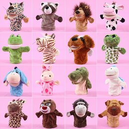 Wholesale Doll 38 - Free Shipping 25cm pp cotton doll early education hand puppet baby toys Plush Doll Animals For Baby Gifts 38 styles A308