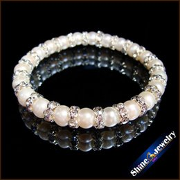 Wholesale White Round Freshwater Pearl Bracelet - SorcerKeeper 100% Real Natural Freshwater Pearl Strand Bracelets Femme Jewelry White Round Cultured Genuine Pearl Bracelet For Woman Love