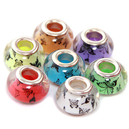 Wholesale European Glass Large Hole Beads - 2017 New Glass Beads Charms pretty European Murano Glass Biagi Large Big Hole Rroll Beads Fit For Charm Bracelets&Necklace Mix Color