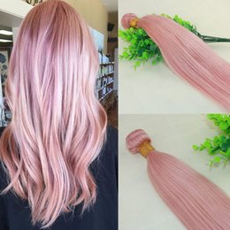 Wholesale Colorful Hair Dyes - Hot Pink Colorful Human Hair Weave Extensions Rose Gold Brazilian Straight Remy Hair Bundles For Summer Wholesale