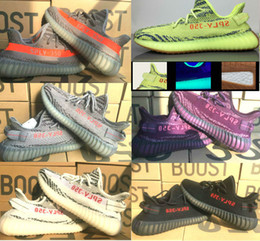 Wholesale Boost Blue - DHL 2018 New 350 V2,V1,V3 Boost Yebra Semi Frozen with Orange dots Bred Cp9652,Beluga 2.0,Zebra Size 36-48 Shoes