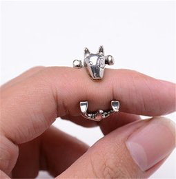 Wholesale Dog Ring Fashion - 10pcs lot Fashion Antique Bronze Bull Terrier Rings Cute Adjustable Animal Rings for Women Anels Dog Shaped Jewelry