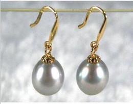 Wholesale South Sea Australian Earrings - a PAIR 9-11MM AUSTRALIAN SOUTH SEA GRAY PEARL EARRING 14K