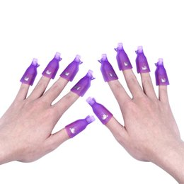 Wholesale Nail Polish Remover Wraps - 10Pcs Beauty Acrylic Nail Art Smart Soak Off Clip Cap UV Gel Polish Remover Wrap White Purple