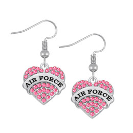 Wholesale Air Engraving - Three colors Fashion Design Crystals Embedded AIR FORCE Engraved Charm Earrings Heart Letter Best Friend Drop Earring Women Jewelry Gift
