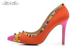 Wholesale Orange Pump Shoes Women - WBP973C Size 34-42 Women 10cm High Heels Orange Suede With Colorful Spikes Pointed Toe Fashion Pumps,Ladies Luxury Brand Wedding Dress Shoes