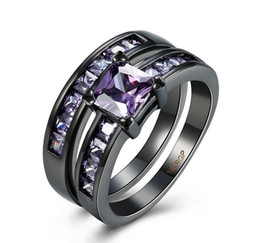 Wholesale Cocktail Diamond Ring - 18K Gold Black Gun Plated Purple Crystal Luxury Set Ring Fashion Cocktail Party Ring Vintage CZ Diamond Jewelry Gift For Women