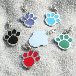 Wholesale Dog Paw Tags Wholesale - 10pcs Paw Zinc alloy Blank Pet Dog ID Tags Laser Diamond Engravable Pet Dog Tags 6 colors