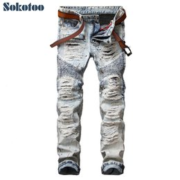 Wholesale Vintage Jeans Men - Wholesale- Sokotoo Men's casual painted holes ripped biker jeans for moto Vintage light blue slim straight denim pants Long trousers