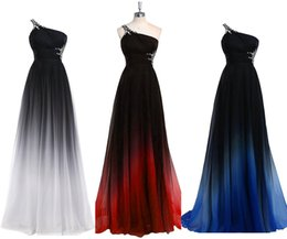 Wholesale Empire One Shoulder Dresses - 2017 Gradiant Color Evening Dresses One shoulder Empire Waist Chiffon Black Royal Blue Designer Long Prom Formal Pageant Dress