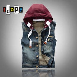Wholesale Vintage Denim Jackets For Men - Wholesale- Summer Men`s Jeans Vest With Detachable Hood Slim Fit Washed Vintage Retro Dark Blue Denim Sleeveless Jacket For Men