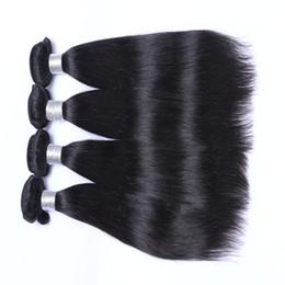бренды человеческого волоса Скидка 9А Девственные Человеческие Волосы Бразильский Малайзии Перуанский Индийский Наращивание Волос 3/4 Шт. Лот Бразильские Прямые Волосы Двойной Уток Натуральный Черный