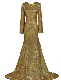 Wholesale Lavender Long Sleeved Evening Gowns - Sparkly Gold Sequin Long Sleeved Evening Dresses Robe De Soiree Longue 2017 Sexy Mermaid Prom Dresses Floor Length Gowns