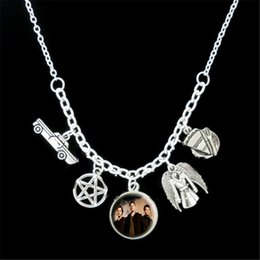 Wholesale Photos Wings - 12pcs lot Supernatural Themed car coat wing plate Charm photo Statement Necklace silver tone c1410