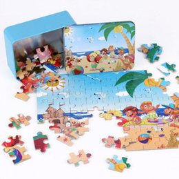 Wholesale Learning Jigsaw Puzzle Wholesale - Cartoon Puzzle Toys Iron Box Package DIY Educational Jigsaw Puzzle for Kids Early Learning Montessori Toys