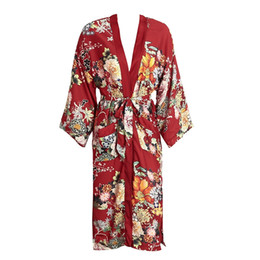 Wholesale Elegant Summer Cardigans - Floral print red kimono cardigan blouse women Long loose pockets sashes kimono robe Summer beach bohemian vacation elegant kimono 2017 new