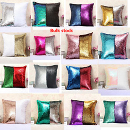 Wholesale Sequins Pillows - Sequins Pillow Case Mermaid Cushion Cover Magical Two-color Changing Bright Pillowcase Shams Home Sofa Car Christmas Decor 36 Style SF31