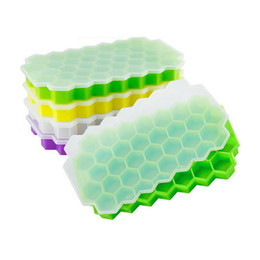 Wholesale Ice Maker Box - 37 Ice Cubes Honeycomb Ice Cream Maker Form DIY Pops Mould Popsicle Molds Chocolate Jelly Ice Box With Cover Freeze Mold ZA3292