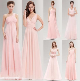 Wholesale Chocolate Chiffon Bridemaid Dress - Peachy Pink Long Bridesmaid Dresses A Line One Shoulder Under Ever Pretty Wedding Guest Dress For Bridemaid Part