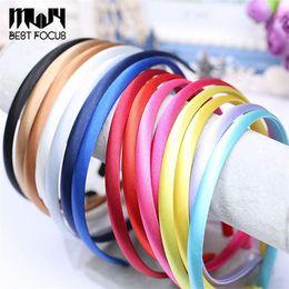 Wholesale Red Band Clips - MLJY Baby Satin Headband plain DIY Hair band Colorful Headbands girls Kids'Hair accessories 100 pcs lot Drop Shipping