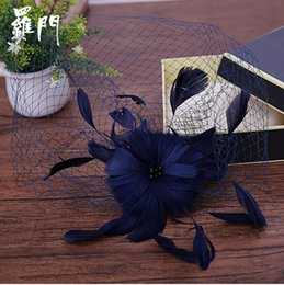 Wholesale Navy Hair - White Pink Navy Blue Wedding Bridal Fascinator Hats ,2017 New Style,Retro Yarn Feathers Linen Hat Wedding Accessories Hair Accessories