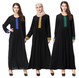 Wholesale Linen Clothing For Women - Islamic Muslim Dresses For Women Maxi Embroidery Dresses Abaya Malaysia Turkish Ladies Clothing Women Muslim Dresses Middle East Lady Robe