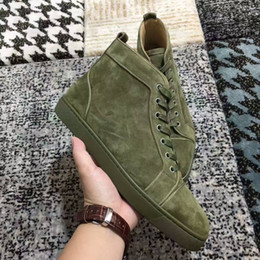Wholesale Womens Size Leather Shoes - New mens womens high top green suede red bottom casual shoes,fashion gentleman designer lace-up sneakers size 36-46
