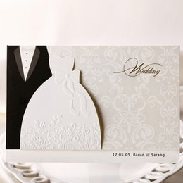 Wholesale Dress Wedding Card - Wholesale-12pcs lot Cheap Sale Groom & Bride Dresses Wedding Invitations Weeding invitation Cards Decorations convites de casamento JJ480