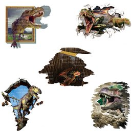 Wholesale Movie Poster Printing - AW8002 3D Dinosaurs Wall Stickers Home Decoration DIY Cartoon Animals Living Room Animals Printed PVC Colorful Mural Art Poster