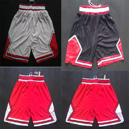 Wholesale Men S Classic Sweatpants - White Red Black Basketball Shorts Mens BULLS Shorts Breathable Sweatpants Teams Classic Sportswear Chicago with Logo Basketball Pant