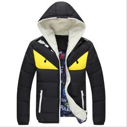 Wholesale Blue Duck Fur Coats - Fashion Brand Clothing Men Winter Parka Fur Collar Hooded Big Eyes Coat Thick Warm Cotton-padded Jacket Overcoat Plus Size 3XL