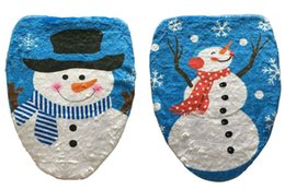 Wholesale Toilet Seat Covers Lids - Wholesale-1 Pc Blue Sky Happy White Snowman Bathroom Toilet Seat Cover Toilet Lid For New Year Xmas Christmas Decoration