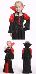Wholesale Xl Girls Birthday - Halloween Vampire Cosplay Girl Wear Long Sleeves Cheap Floor Length Girls Dress Different Size S M L XL In Stock