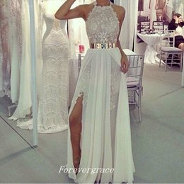 Wholesale Navy Belt Dress - High Quality Lace Side Slit Long Prom Dress New Arrival A-line Halter With Gold Metal Belt Party Gown Custom Made Plus Size