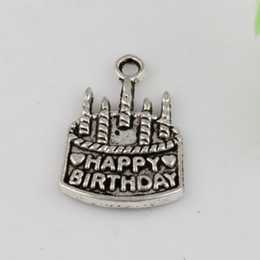 Wholesale Cake Jewelry Wholesale - Hot Sales ! 300pcs Ancient silver Zinc Alloy THappy Birthday Cake Gift Pendants Charms DIY Jewelry 15x22mm