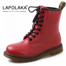 Wholesale Thick Sole Boots Heel - Wholesale- 2016 Medium Heels Women Ankle Boots Thick Heels Skid-proof Sole Lace Up Boots Spring Fall Shoes Sole Rubber Women Shoes