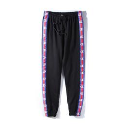 Wholesale Women S Hip Hop Sweatpants - 2017 men ans women joggers pants hip hop design vetements unisex lovers sweatpants casual mens jumpsuit black white blue